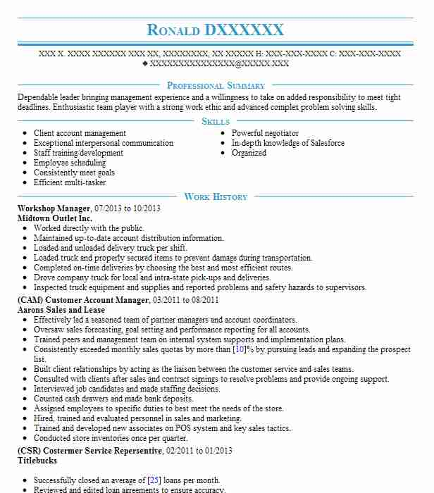 workshop manager resume sample