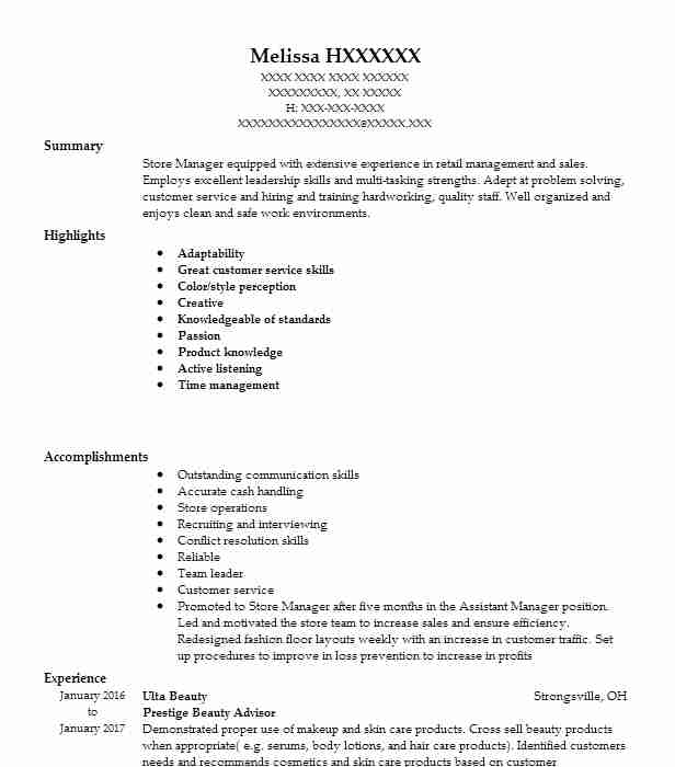 Prestige Beauty Advisor Resume Example Ulta Cleveland Ohio