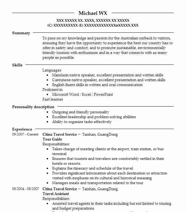 sample resume tourist guide