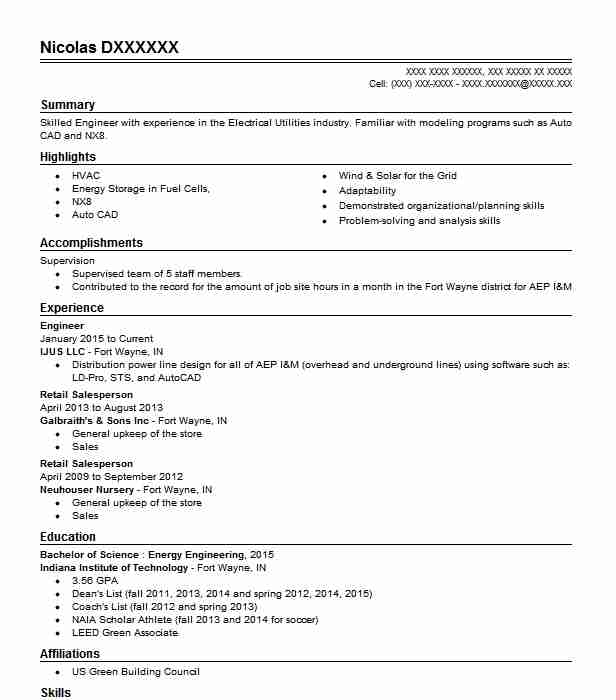 125 Energy And Utilities Resume Examples in Indiana | LiveCareer