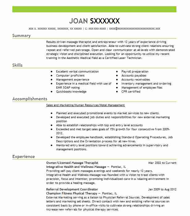385 Massage Therapy (Beauty And Spa) Resume Examples in Illinois ...