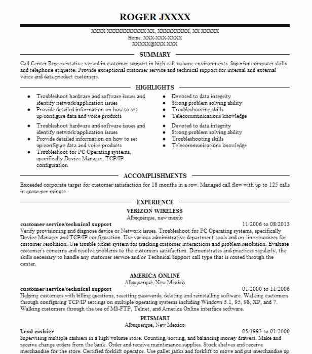 Customer Service/Technical Support Resume Example (Verizon Wireless ...