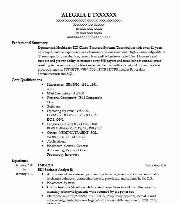 edi analyst resume example cognosante