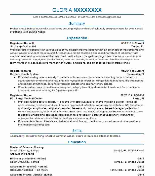 Registered Nurse II  Registered Nurse Resume