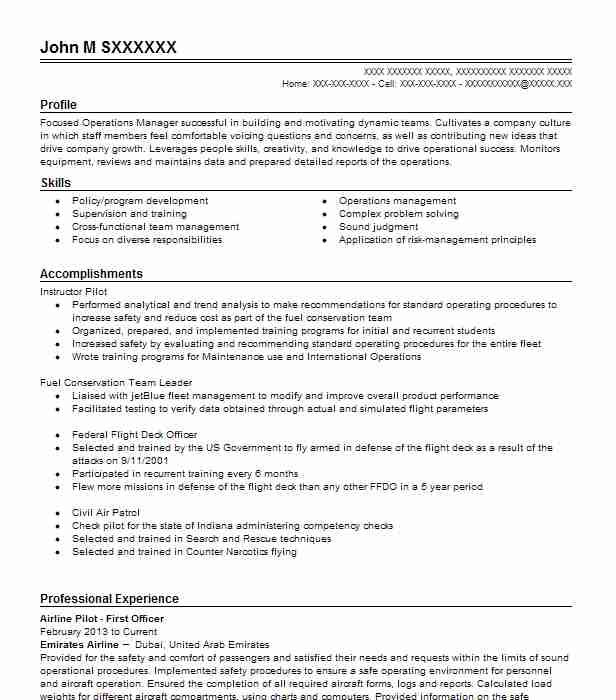First Officer Pilot Resume Example American Airlines