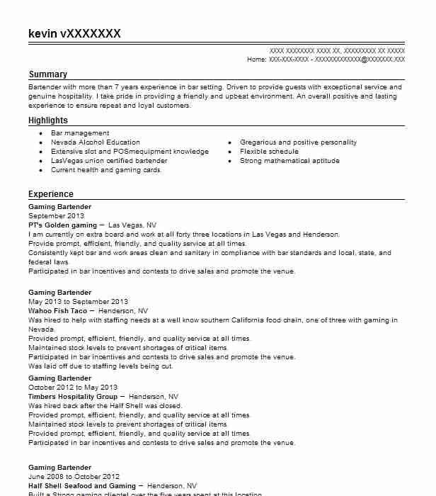 gaming bartender resume example rae u0026 39 s