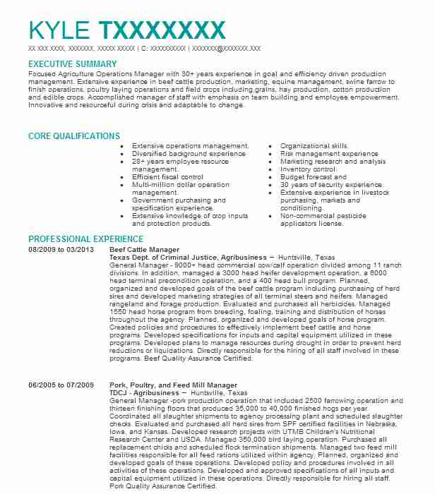 cattle manager resume example friona industries