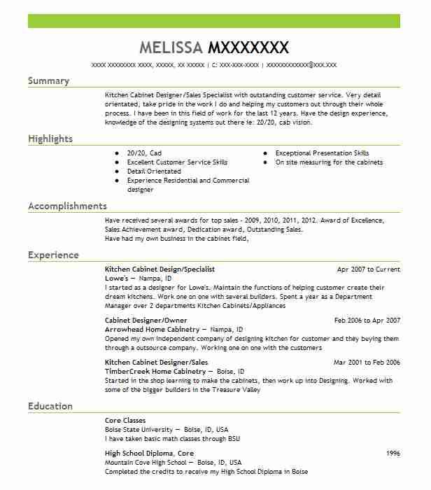 Kitchen Cabinet Sales Specialist Resume Example Company Name Sterling Virginia