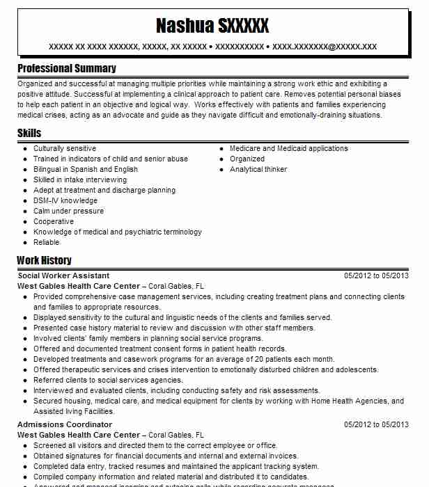 Cover Letter Strong Work Ethic: Social Worker Assistant Resume Sample