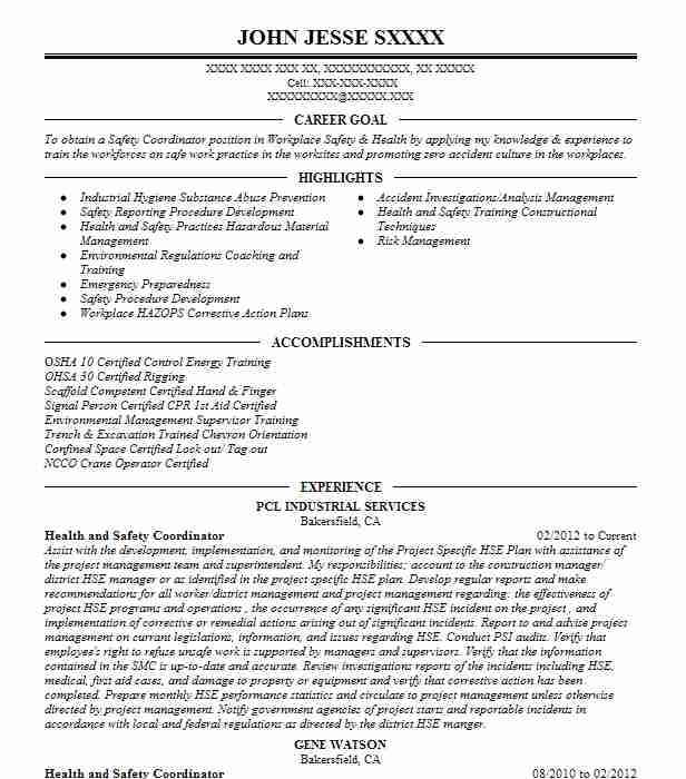 health and safety coordinator resume sample