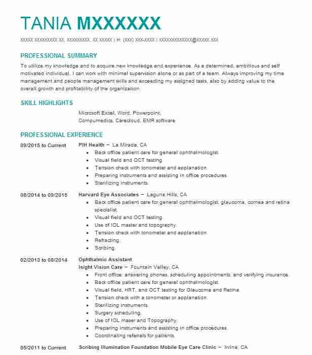 ophthalmic assistant resume sample