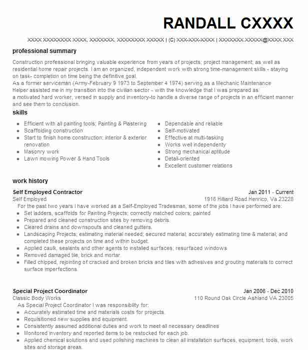 self employed general contractor resume example homestead
