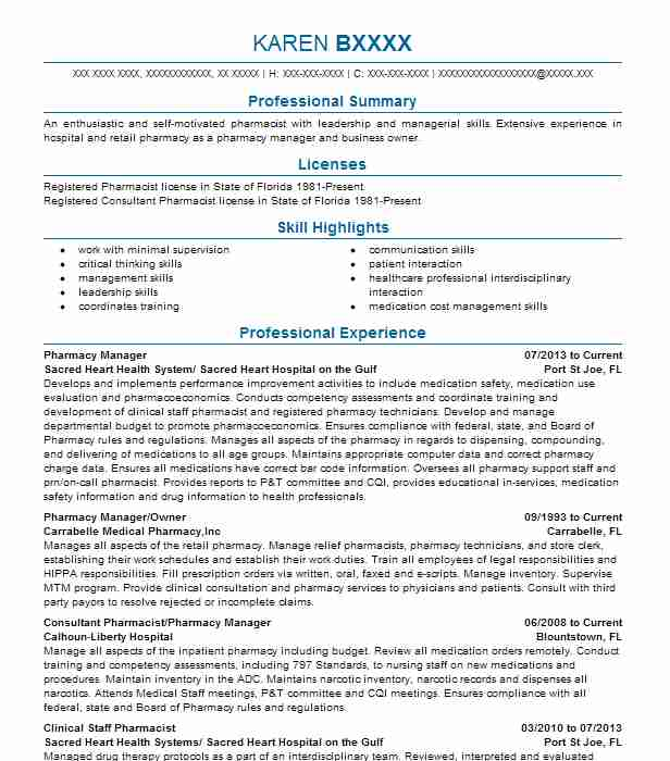 pharmacy manager resume example sacred heart health system sacred heart hospital on the gulf apalachicola florida