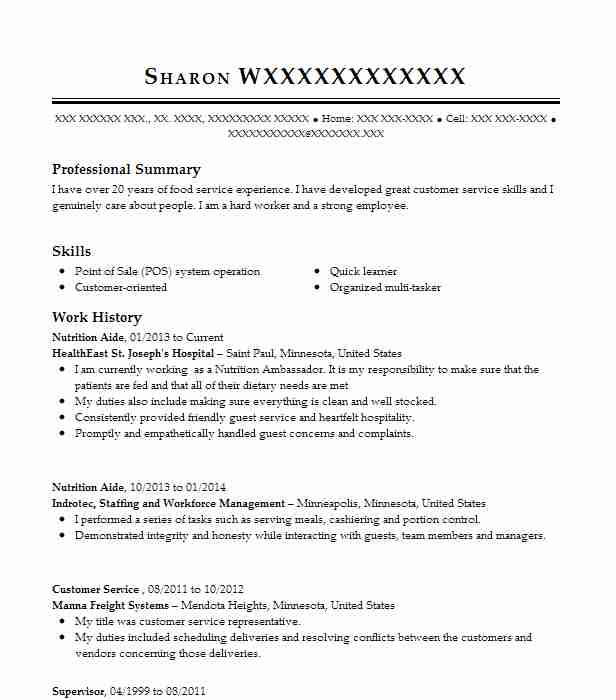 nutrition aide resume sample