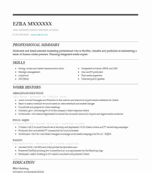 best media planner resume example