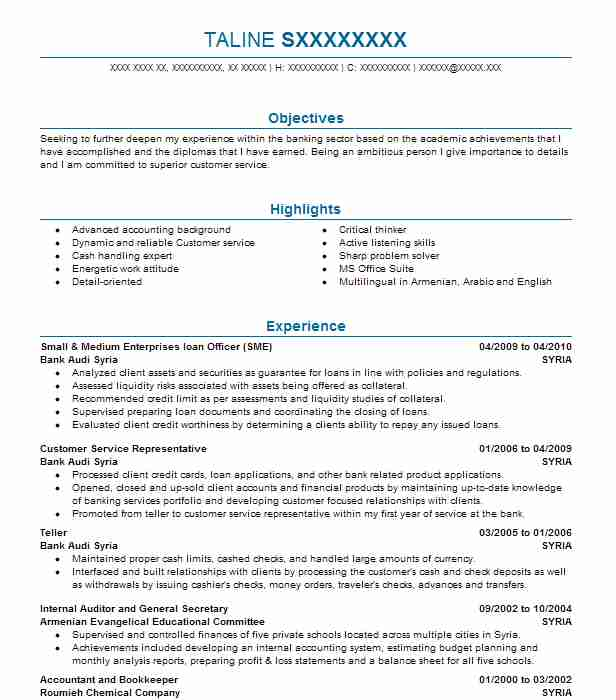 small business loan officer resume example fidelity bank