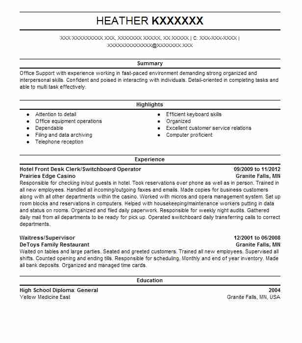 sample cv hotel telephone operator choice image certificate - Bank Proof Operator Sample Resume