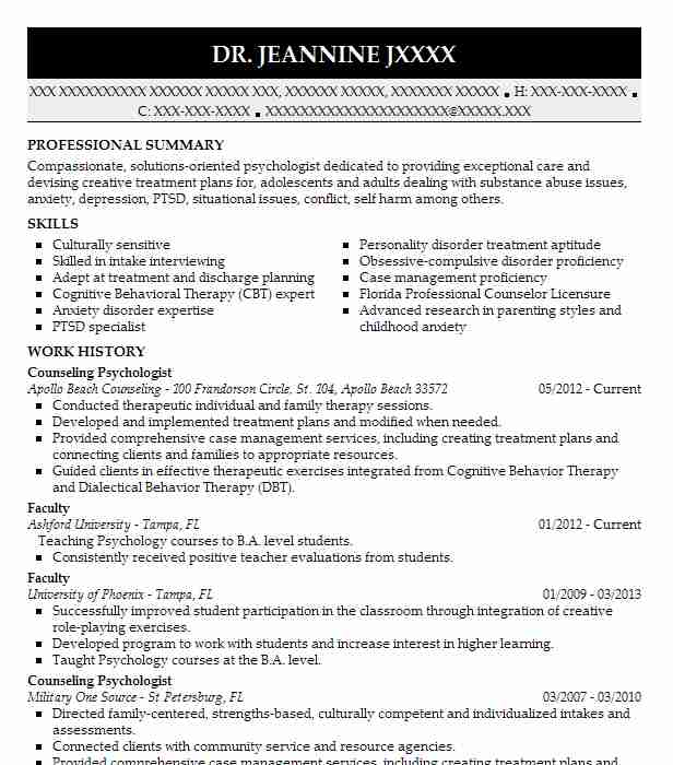 counseling psychologist resume sample
