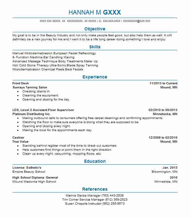 81 Beauty Resume Examples In Minnesota Livecareer