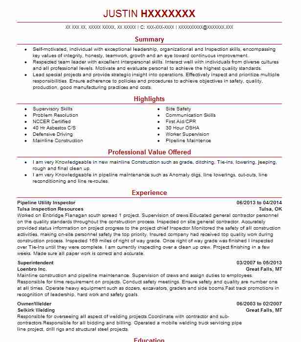 Pipeline Utility Inspector Resume Example Tulsa Inspection ...