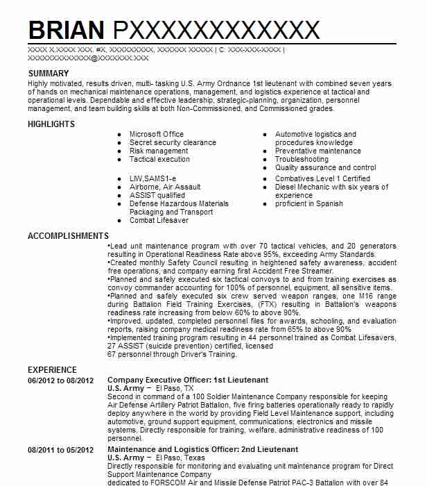 Company Executive Officer: 1St Lieutenant Resume Example ... on u.s. army mental evaluation example, warrant officer oer example, new army oer example, da 67 9 1a example, oer support form oct 2011, relief for cause ncoer example, army letter of recommendation example, field-grade oer example, oer support form lotus, oer support form word document, elevation plan example,