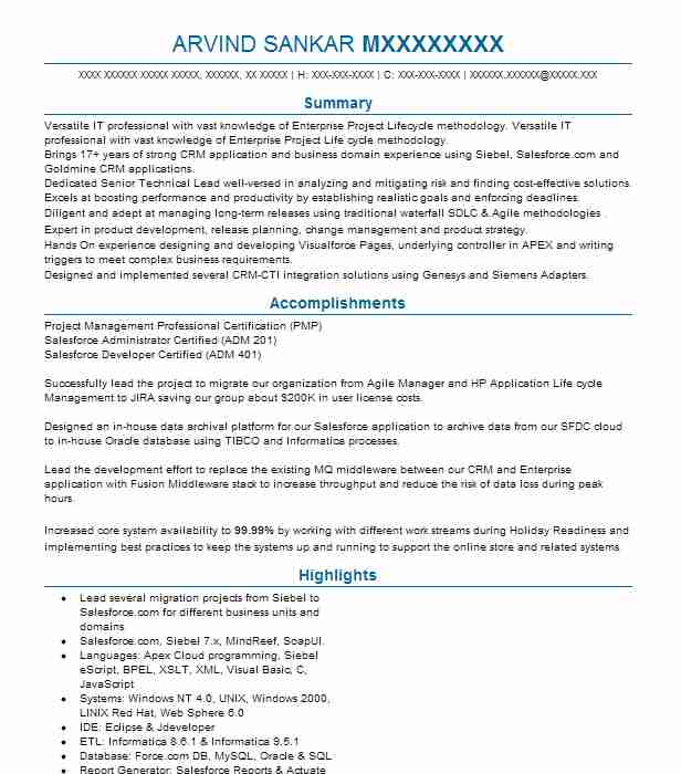 salesforce technical lead resume example wipro technologies
