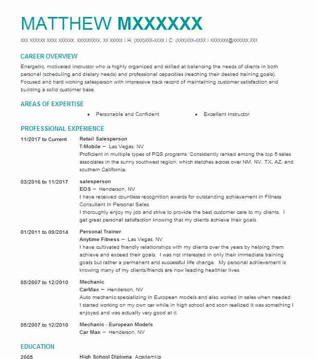 salesperson - Pizza Maker Resume