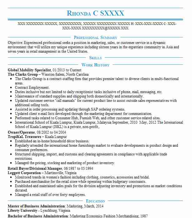 global mobility specialist resume sample