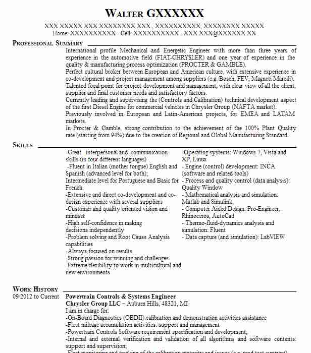 Powertrain Controls & Systems Engineer Resume Example ...