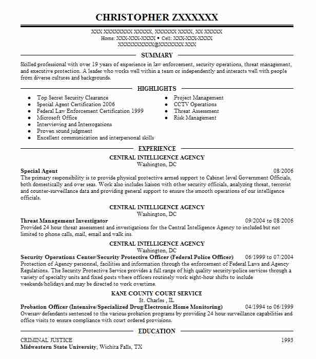 special agent resume sample