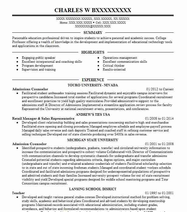 Resume admissions counselor