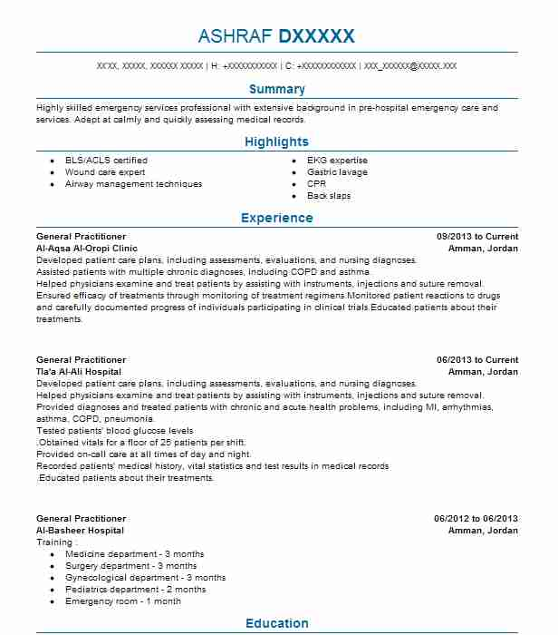 Doctor Resume Objective: General Practitioner Resume Sample