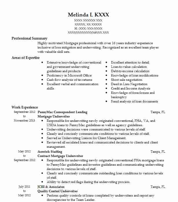 sr  mortgage underwriter resume example wells fargo