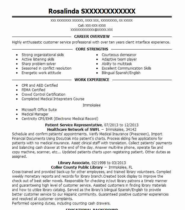 6 Customer Service Representative Resume Examples In Immokalee, Fl