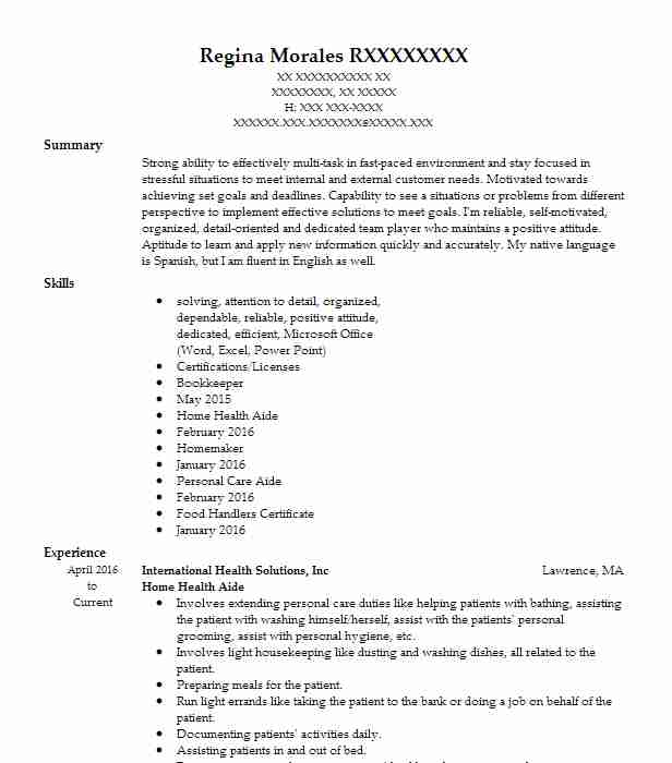Professional Home Health Aide Resume Examples Healthcare Support Livecareer