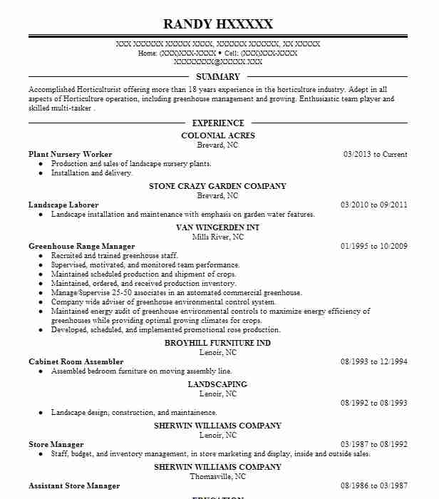 plant nursery worker resume sample