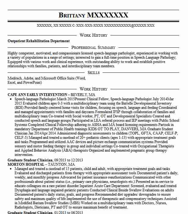 graduate student clinician resume example harry w  lockley