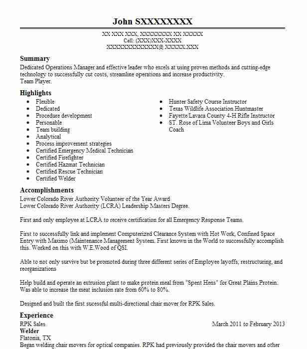 Best Welder Resume Example | LiveCareer
