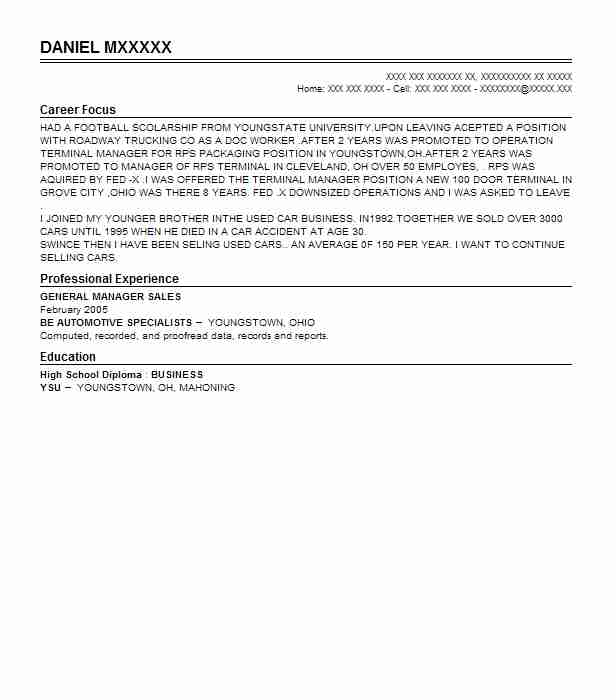 sample resume for general manager
