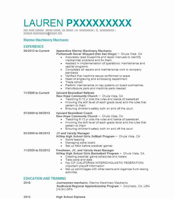 marine mechanic resume example watersports central