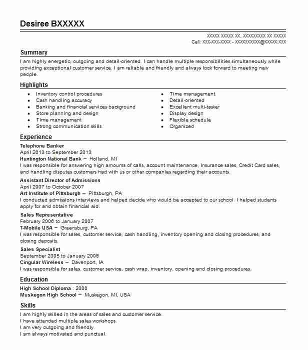 Telephone Banker Resume Sample Banker Resumes Livecareer