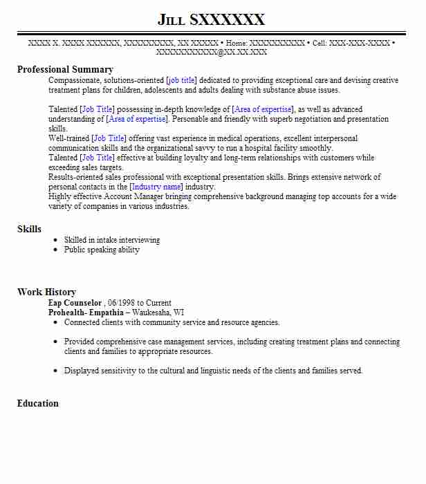 Eap Counselor Resume Sample   Counselor Resumes   LiveCareer