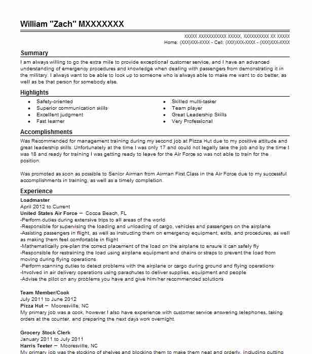 aircraft instructor loadmaster resume example united states air force