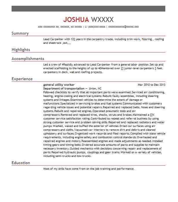 lead carpenter sample resume carpenter resume template 8 free lead carpenter sample resume - Lead Carpenter Sample Resume