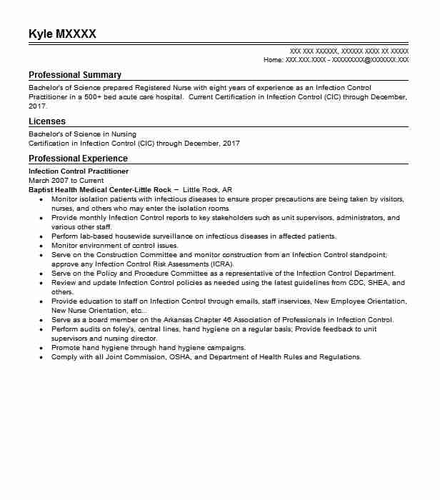 One Of The Many Examples Of Nursing Cover Letters Has Been: Infection Control Practitioner Resume Sample