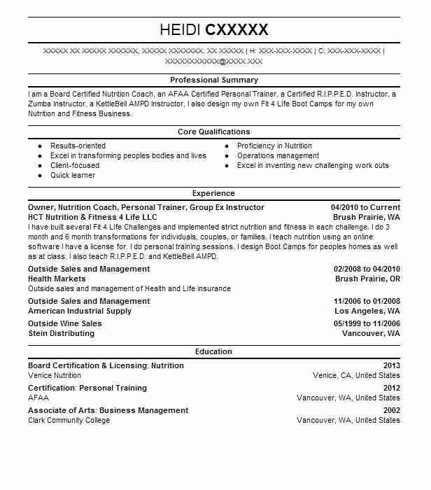 Owner Nutrition Coach Personal Trainer Group Ex Instructor Resume