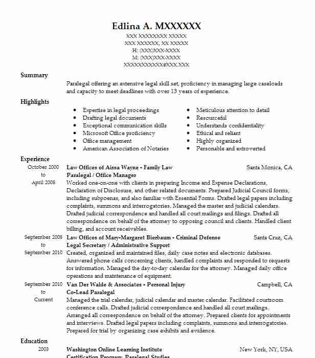 paralegal    office manager resume example tenn and tenn  p