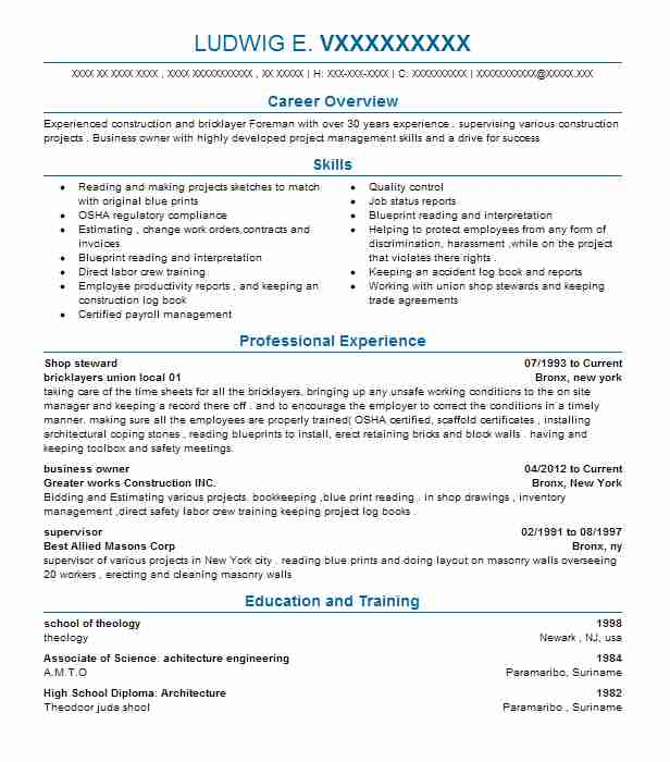 shop steward resume sample