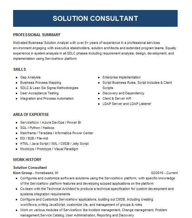 principal solution consultant resume example manhattan