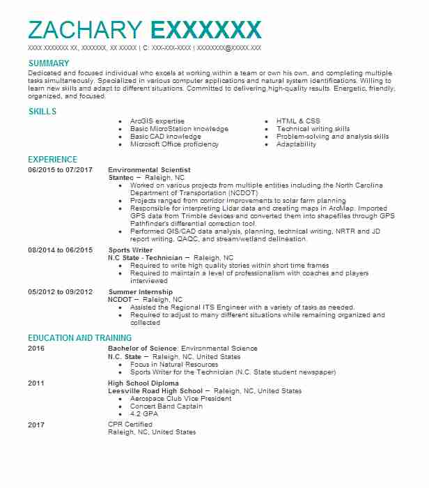 Environmental Scientist Resume Example Stantec Raleigh North